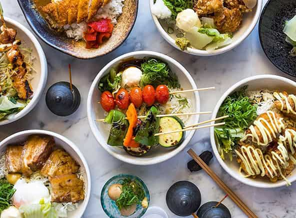 Japanese vegetable skewer meal and rice meals
