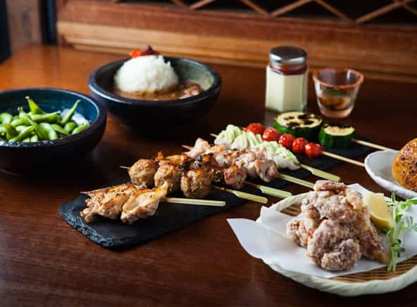 Different types of Japanese skewers and Japanese meals in bird's nest restaurant