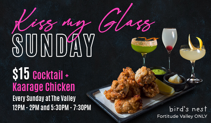 Kiss my glass Sunday promotion poster by bird's nest in fortitude valley